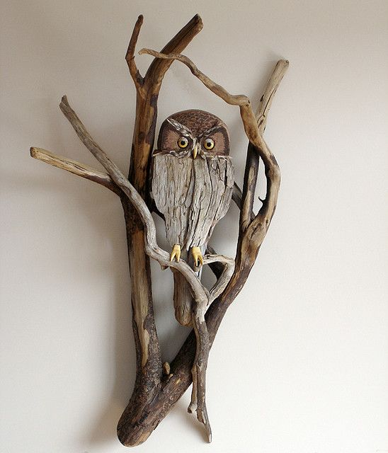 "https://flic.kr/p/7LqPpt | Driftwood Owl Wall Sculpture | 34"" H x 20"" W x 12"" D.   Ebony and Yellow Heart eyes with feather accents. Yellow Heart Feet."