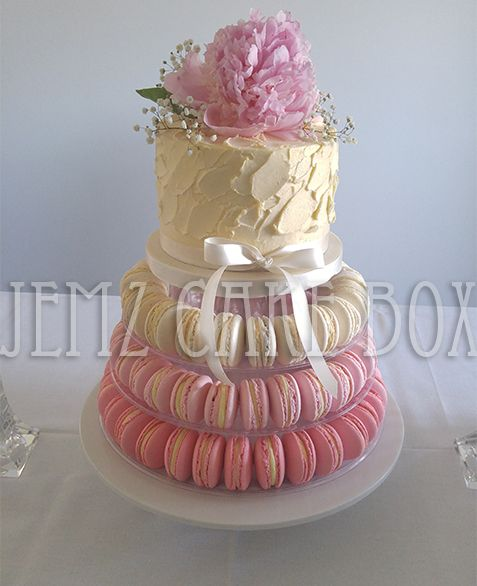 Ombre Macaron Wedding Cake designed and made by Jemz Cake Box. Maccrons by Blue Bell Bakes