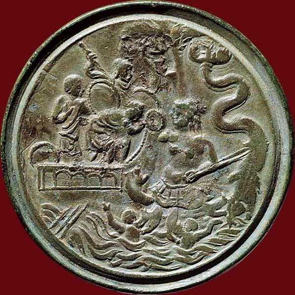 Ulysse entre Charybde et Scylla Médaillon contorniate. Rome, fin du IVesiècle apr. J.-C. Bronze, ø 3,65cm, 30,37 g BnF, Monnaies Médailles...