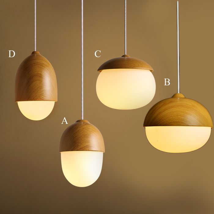 Buy Modern Simple Fashion Wooden Glass Pendant Light 4 Designs Dining Room Living Room Bedroom Lighting with Lowest Price and Top Service!