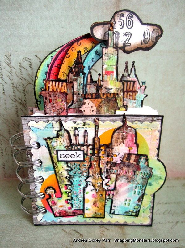 Snapping Monsters: My Other Creations: Notebook Using Tim Holtz Cityscape Dies