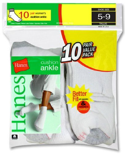 Hanes Cushioned Women`s Athletic Socks - Ankle White 5-9 $7.78