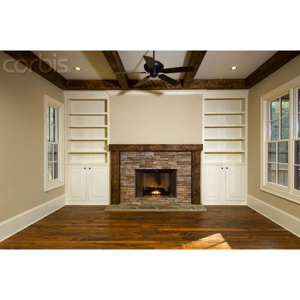 rustic empty living room carpet | Empty Living Room With Brick Fireplace and Built-In ...