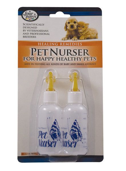 If you have a couple of orphaned mouths to feed, it's always a good idea to keep some of these on hand! Available here for $4.65: http://www.oldmaidcatlady.com/four_paws_pair_of_kitten_nursing_bottles