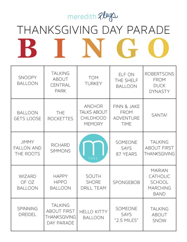 Instead of just sitting around the TV in silence, print out this series of BINGO cards to get everyone interacting during the Thanksgiving Day Parade!