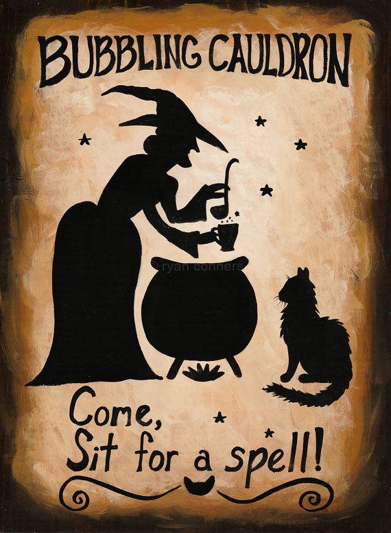 Bouillonnant chaudron sorcière signe Halloween chat Folk Art peinture originale