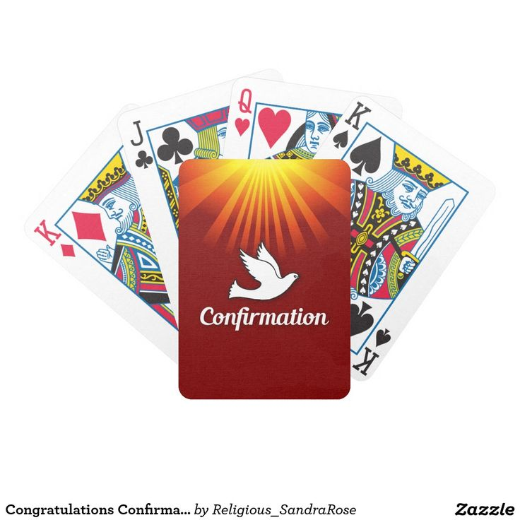 Congratulations Confirmation Dove with Gold/Red Bicycle Playing Cards