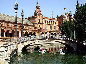 Plaza de España y barcas, Sevilla