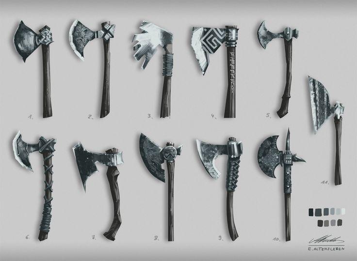 Viking axes, Erick Altensleben on ArtStation at https://artstation.com/artwork/viking-axes