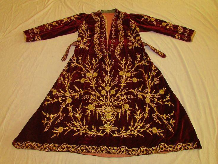 Antique Ottoman Turkish 19th C. Velvet Bindalli Embroidered Gold Metallic Thread