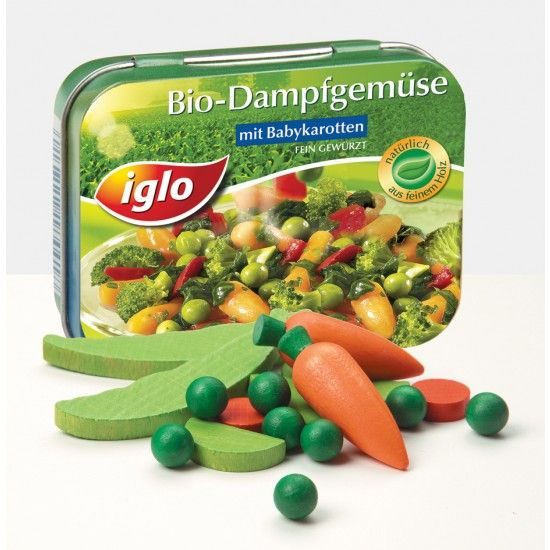 Wooden Play Food: Mixed vegetables in a tin