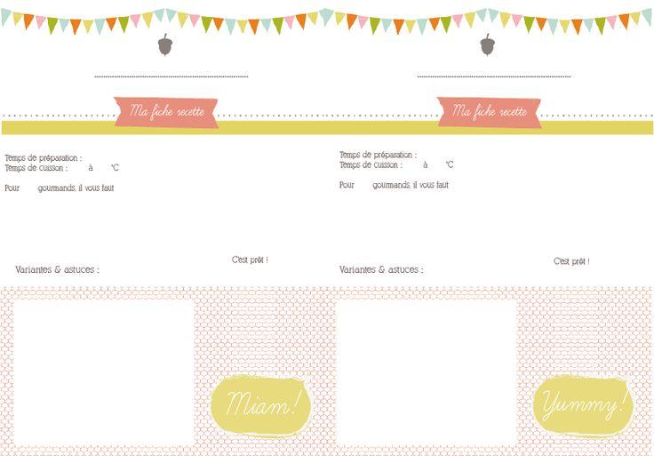 Bekannt fiche recette à compléter | Organisation | Pinterest | Fiches  CI59