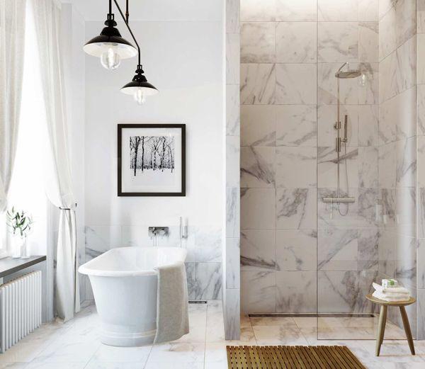 Bathroom in a Swedish apartment. Photo courtesy of Eklund Stockholm New York.
