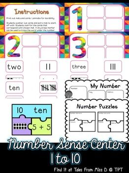 Help your students develop their number sense with numbers 1 to 10 with this center activity. This center includes two activities; 1) Number sorting - word, tens frame tally, addition, subtraction and base 10 2) Number puzzles - number, word, tens frame and addition A worksheet for each activity is included. This worksheet can be completed at the end of the activity for students to record their learning.