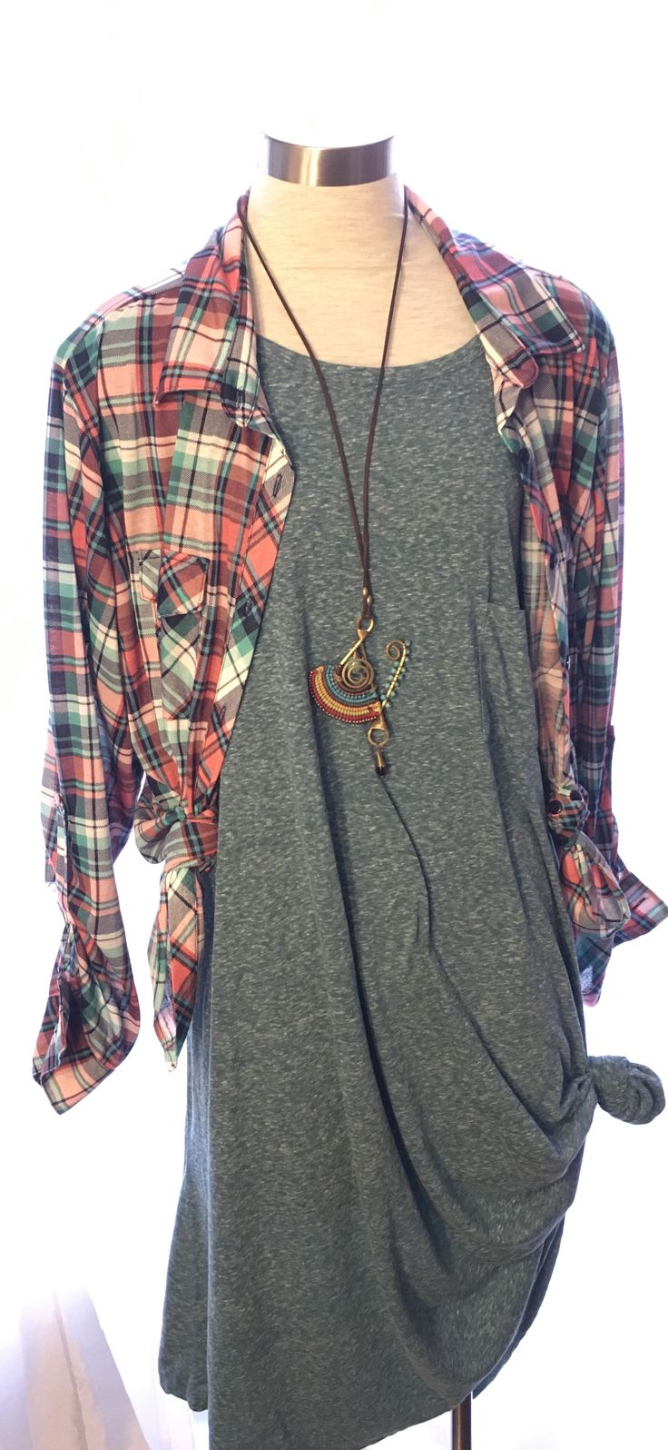 Carly 2x Cute plaid shirt Knot just for causal style #SherrysSharedTreasures