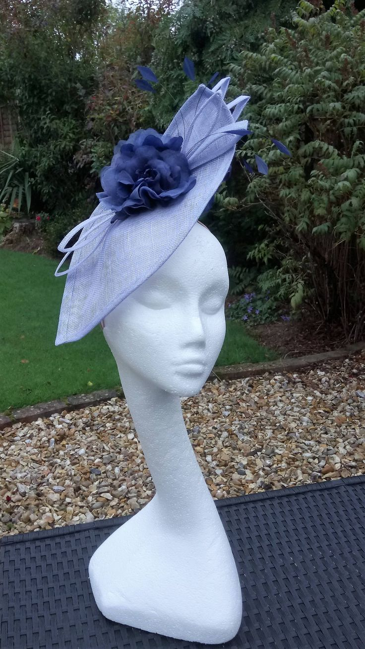 Striking sky blue, and navy hatinator.  Headpiece, #fascinator, for weddings, Mother of the Bride, Occasion Hat, for Royal Ascot, by JayneAlisonMillinery on Etsy