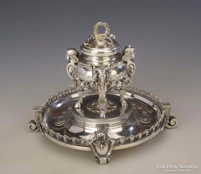 Ezüst barokk stílusú figurális tintatartó