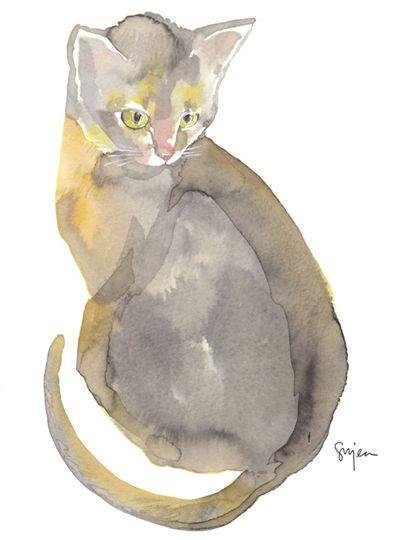 By Sujeanrim, CATCat Art, Animals Most Cat, Watercolors Cat, Adorable Cat, Watercolour Art, Sujeanrim, Watercolors Artists, Painting, Cat Watercolour