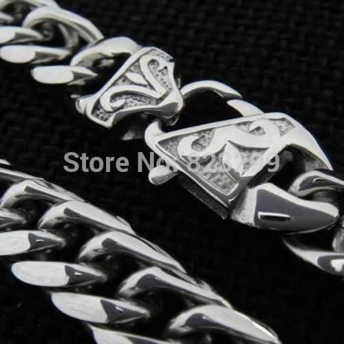 Cool men's stainless steel high polishing quality (316L) Silver Curb Cuban necklace jewelry (length: 60cm, width: 14mm)
