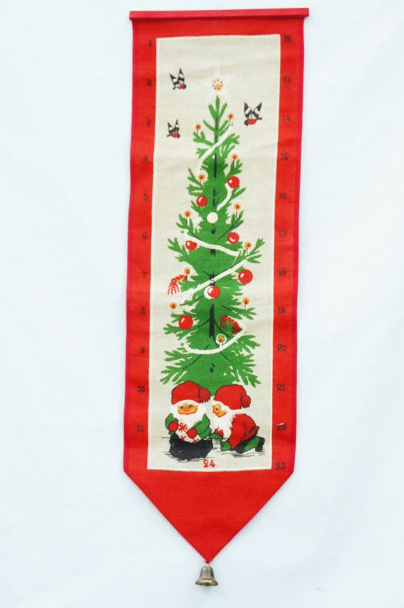 Vintage 70s Swedish Christmas Gnomes Wall by SycamoreVintage