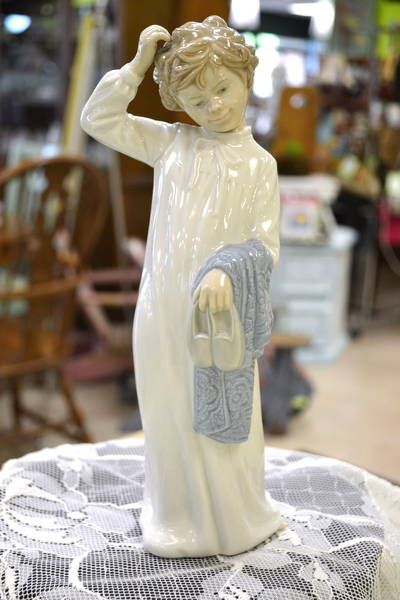 "Lladro Nao Figurine - Bedtime Boy with Slippers and Night Shirt Who is Scratching His Head - 11"" high"
