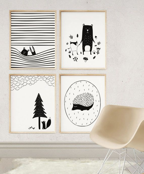 Scandinavian Art Print, Modern WOODLAND Illustration, Monochrome Posters, Nursery Decor, Printable kids gift, Wall Art, Digital Download