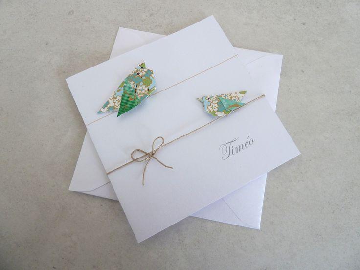 Faire part de naissance, baptême pour fille ou garçon - carte double, oiseaux en origami vert, bleu en papier : Faire-part par papierelief