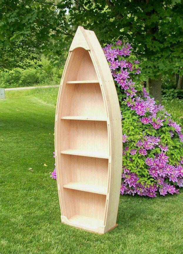 Ft Unfinished Row Boat Shelf Bookshelf Bookcase Hand Crafted Canoe ...