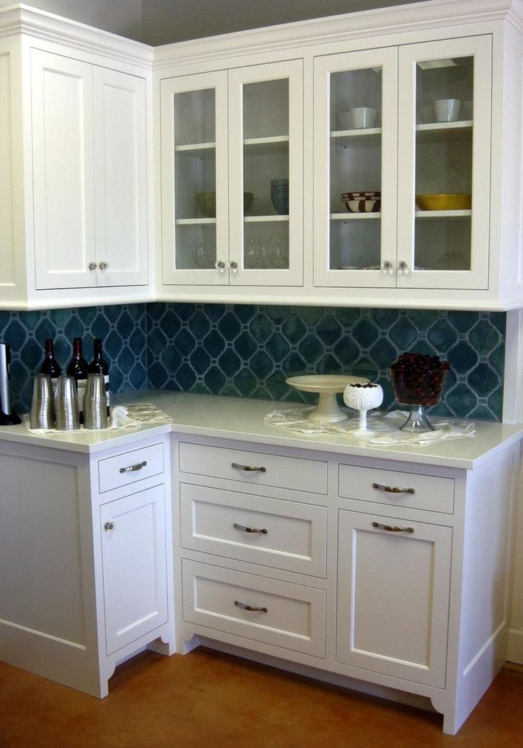 robins egg blue tile in an arabesque pattern on this kitchen backsplash - Arabesque Tile Backsplash