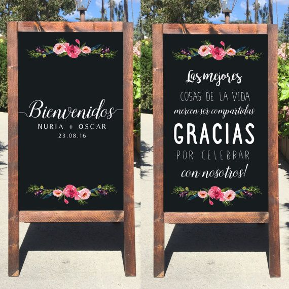 Welcome Wedding Chalkboard Sign - Wedding Easel Sign Bienvenidos A Nuestra Boda…