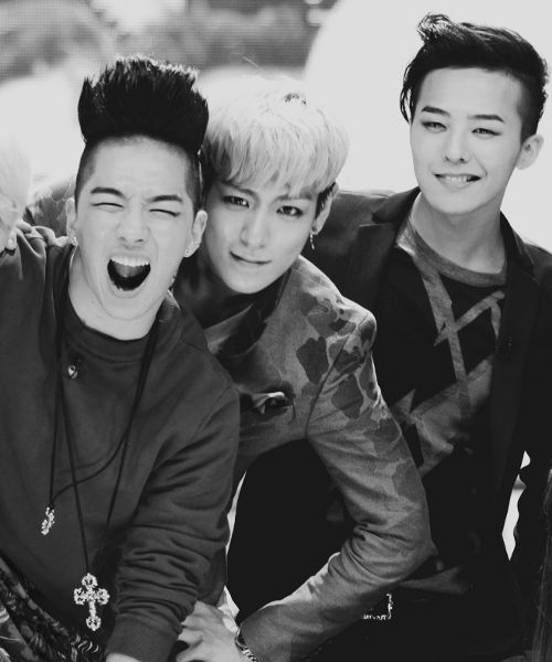 Taeyang (태양), T.O.P (탑) and G-Dragon (지드래곤) of Big Bang (빅뱅)