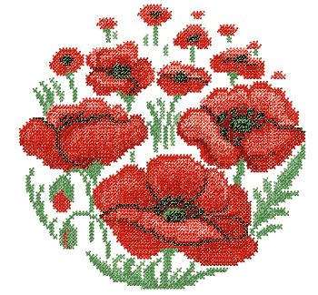 cross stitch embroidery designs | Poppy Flower Cross Stitch embroidery design