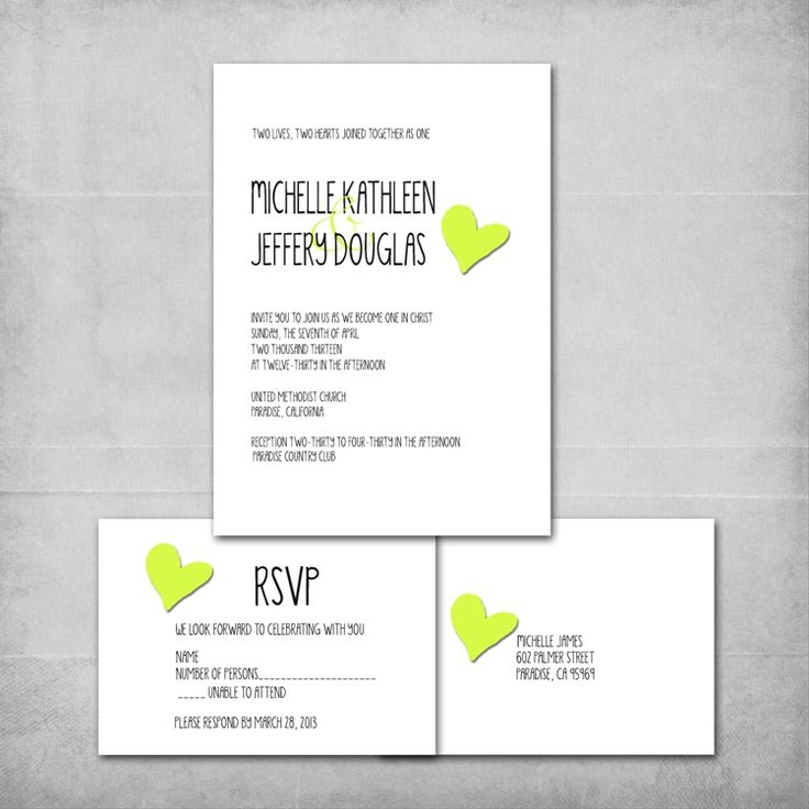 Heart Wedding Invitation And Reply Card Set