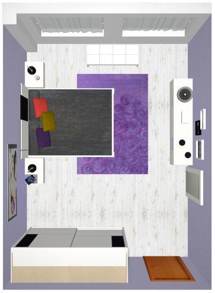 Vista que tenemos del dormitorio moderno en el cual hemos puesto el suelo laminado con una bonita madera de un color claro, al combinar el color blanco y negro hemos querido acercarnos un poco a ese estilo nórdico tan actual de hoy en día, una de las notas de color en el dormitorio la pone la alfombra.
