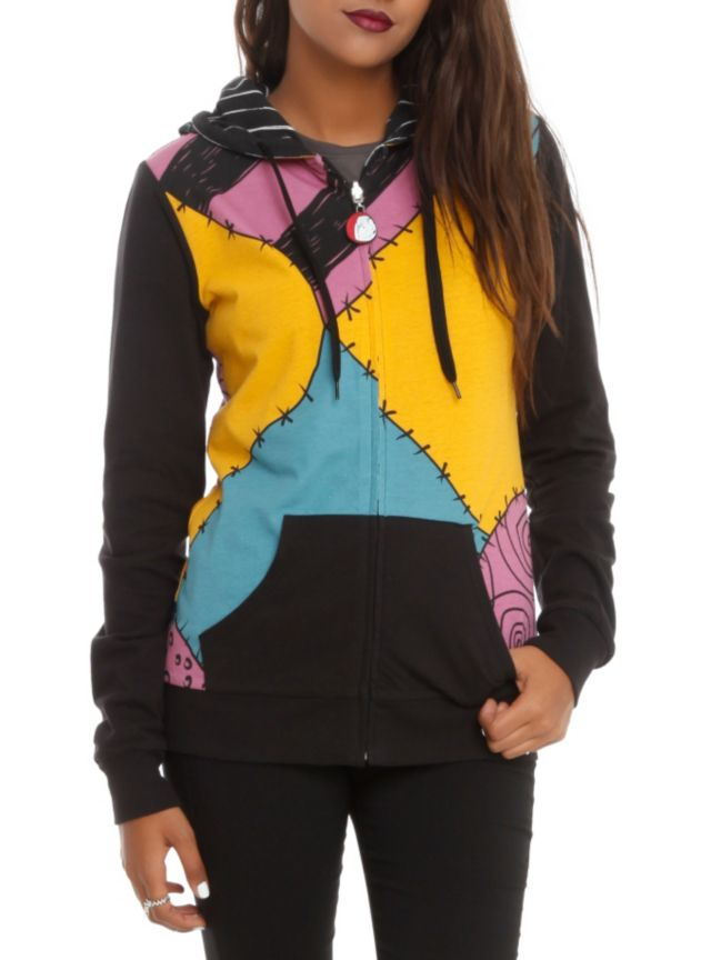 Reversible zip hoodie from The Nightmare Before Christmas with Jack & Sally costumes design.