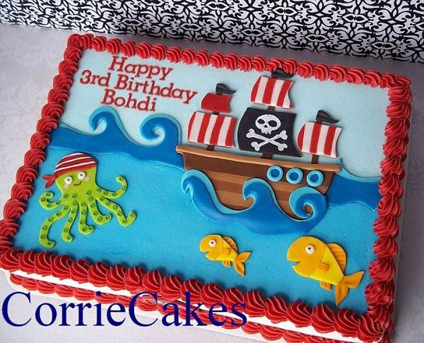 Cake Topped with Fondant, Pirate Themed Embellishments