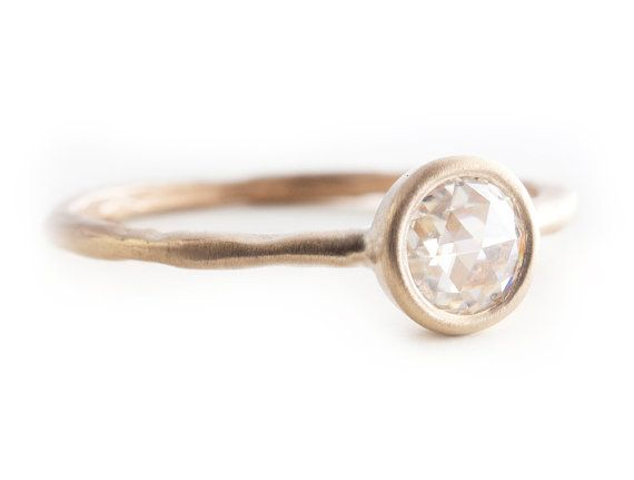 Rose Cut Moissanite Ring Engagement Ring Solitare by Tulajewelry, $550.00