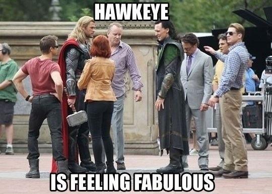 Hawkeye is feeling fabulous. HAHAHA!: Laughing, Stuff, Marvel, Captain America, Jeremy Renner, Feelings Fabulous, Funny, The Avengers, Hawkeye