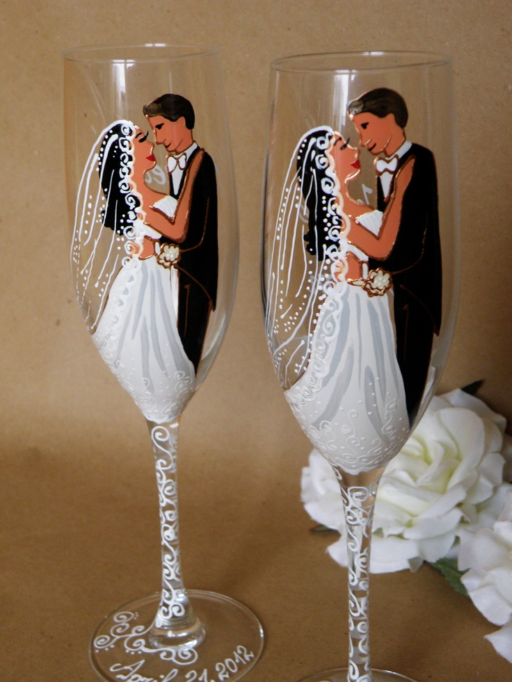 Hand painted Wedding Toasting Flutes Set of 2 Personalized Champagne glasses Groom and Bride with long white veil. $49.00, via Etsy.