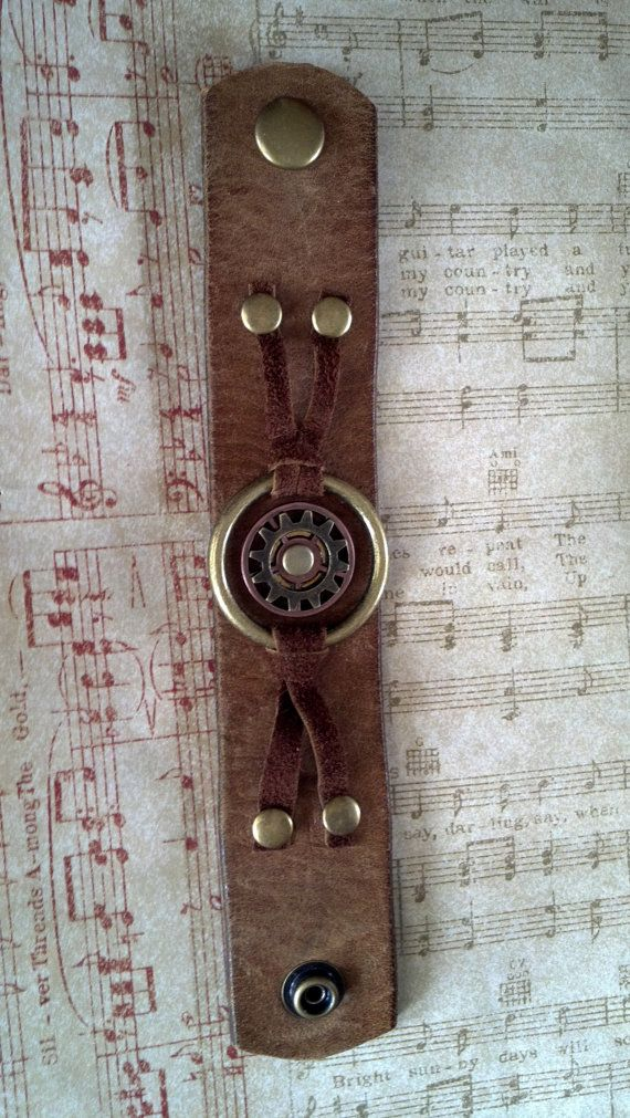 Unisex Brown Leather Ring and Gears Cuff bracelet by AlynneDesigns