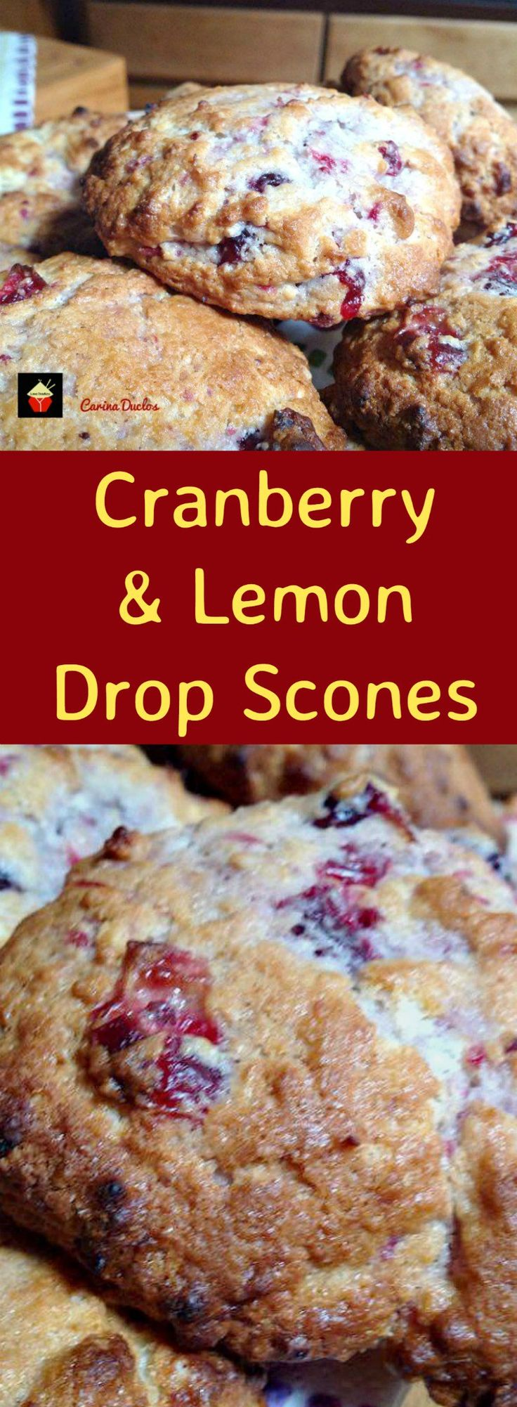 Cranberry and Lemon Drop Scones. These are a wonderful little scone using left over cranberry sauce. They're great tasting, soft and moist. Delicious served warm or cold with a spread of butter! Only take minutes to make and incredibly easy!   Lovefoodies.com