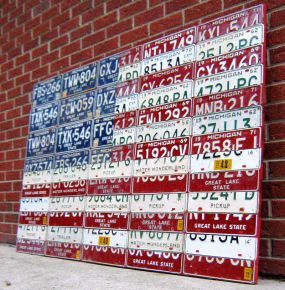 4th Creative Flag ~ Pile of Michigan License Plates = Flag of USA - JUNKMARKET Style