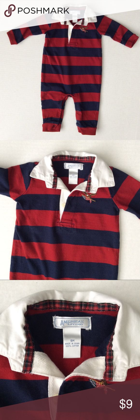 American Living rugby outfit, size 6m Great color combo for this rugby onesie, by American Living.  Size 6m, perfect, like-new condition! american living One Pieces Bodysuits
