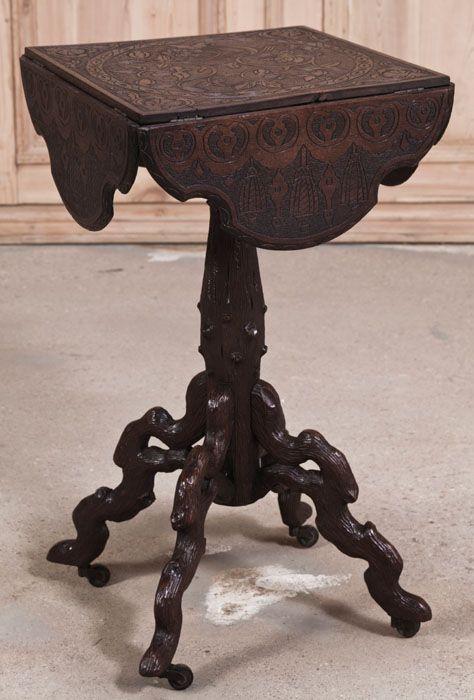 Antique Black Forest Drop Leaf Table   Antique Furniture   Inessa Stewart's Antiques