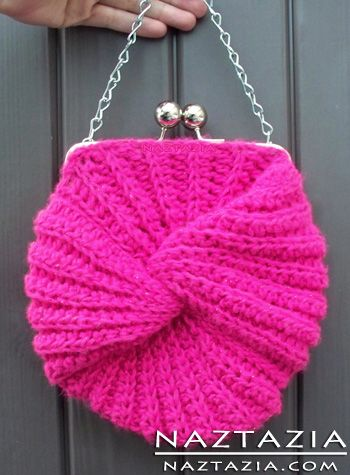 Crocheted Twist Mobius Moebius Infinity Crochet Purse Tote Bag