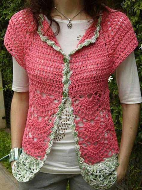 Resultado de imagen para blusa heart crochet pinterest