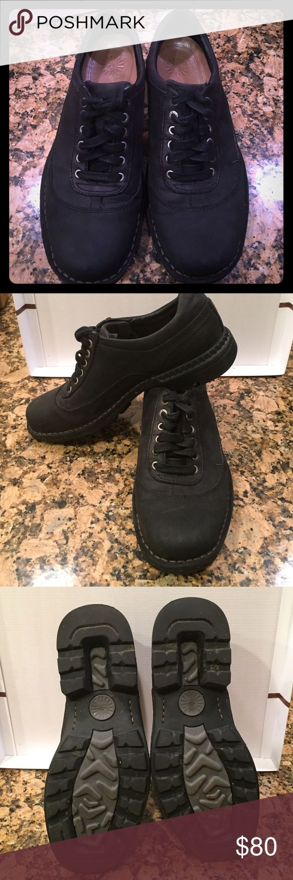 Mens 10.5 UGG shoes Great deal ! Mens UGG shoes size 10.5 black leather lace up have only been worn three times ! UGG Shoes Oxfords & Derbys