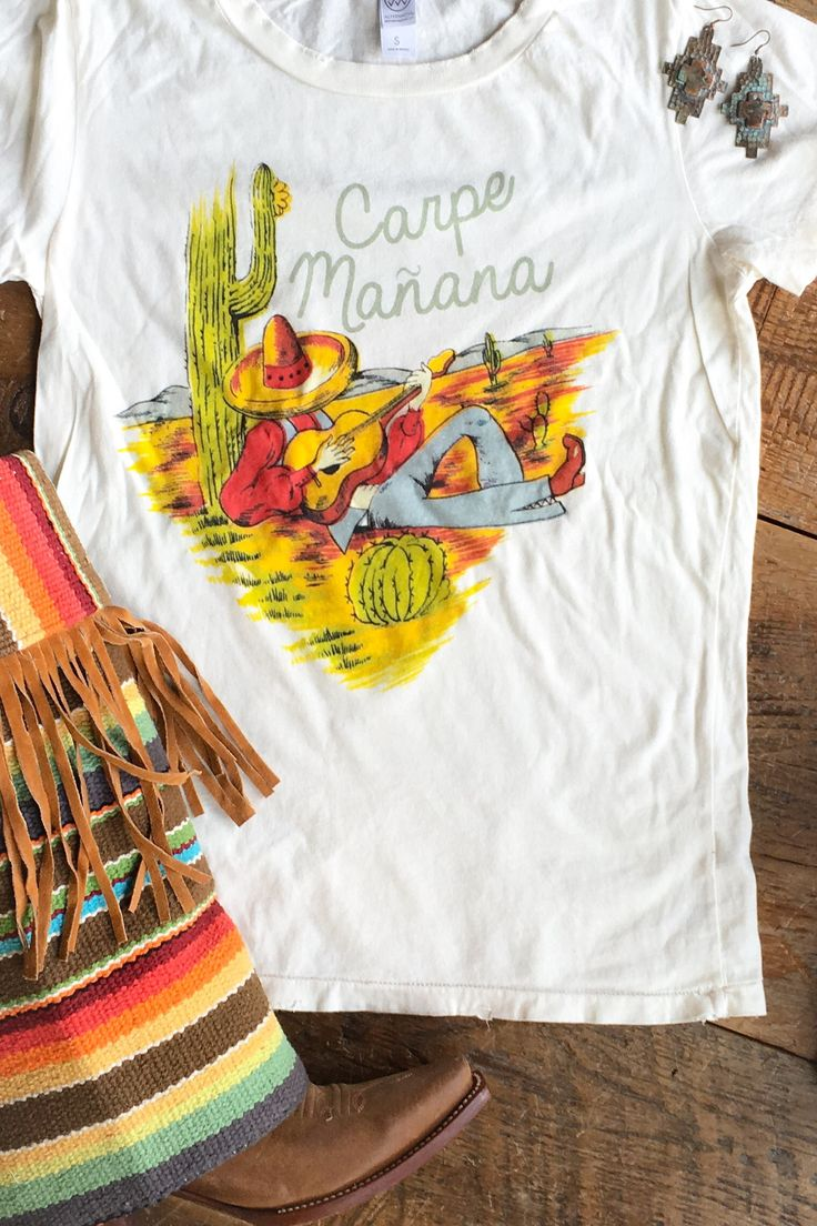"""""""Carpe Mañana"""" compedre and cactus fitted tee Laid back Spanish saying meaning """"seize tomorrow"""" Distressed hem rocker tee Original graphic design by a Texan Art"""