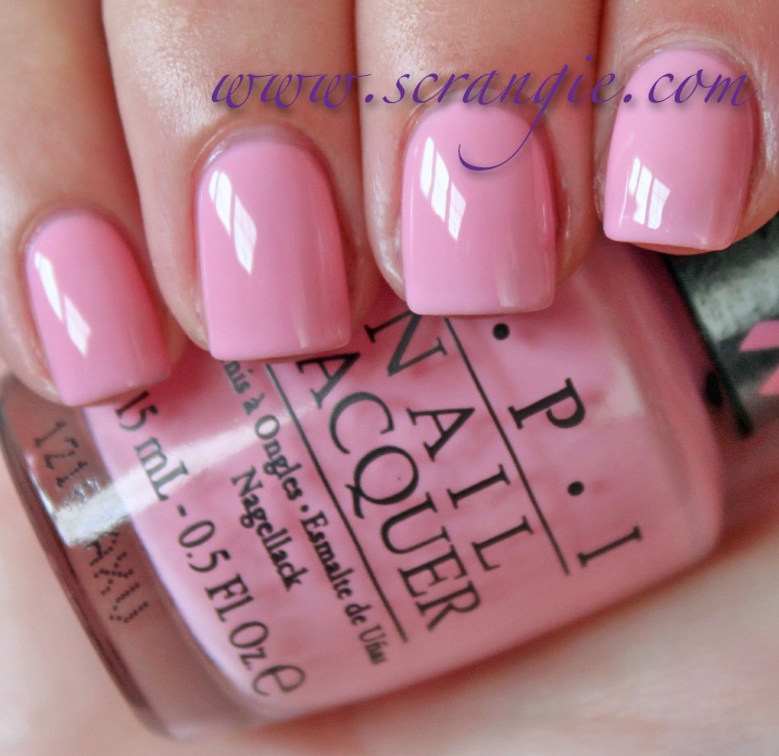 Scrangie: OPI Pink of Hearts 2012 Breast Cancer Awareness Collection Swatch of I Think in Pink