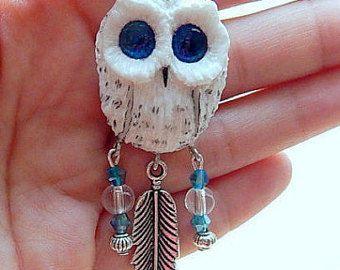 White Polar owl pendant, women's jewelry, animal jewelry, handmade owl, owl totem, owl pendant necklace, hedwig the owl pendant, spirit owl